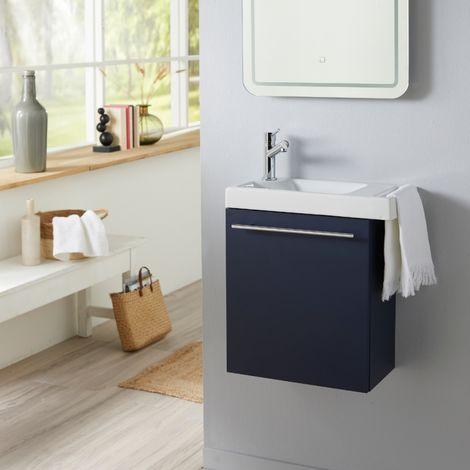 Meuble lave-mains bleu nuit avec lave mains porte serviette en céramique et robinetterie eau froide à gauche