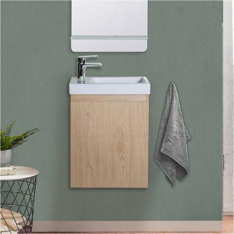 Meuble lave-mains Chêne L41 x H53 LISA - Bois clair