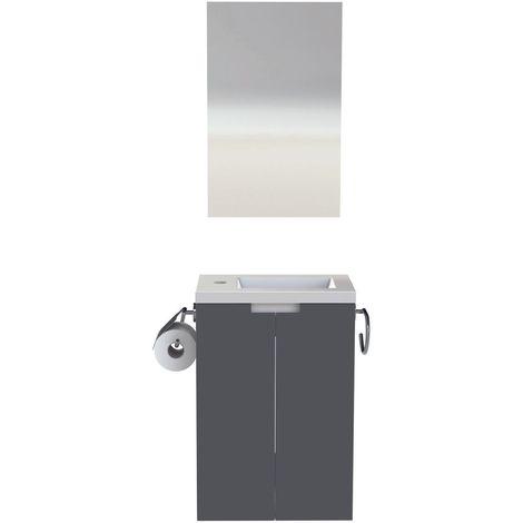 Pack meuble lave-mains gris anthracite laqu/é brillant