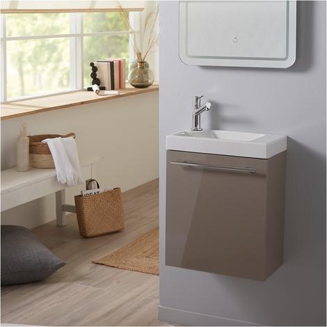 Meuble lave-mains complet couleur daim pour WC design -