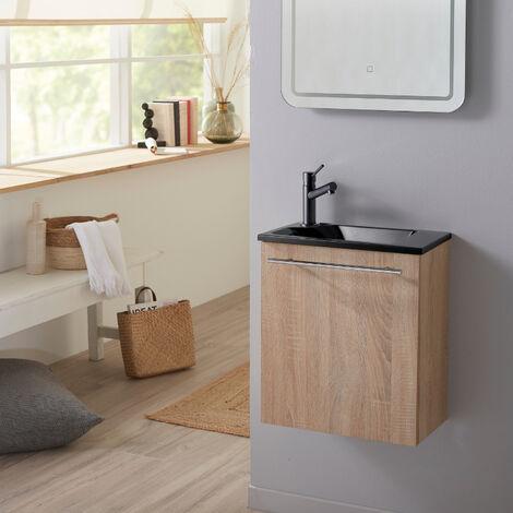 Meuble lave-mains complet couleur Oak Bordolino avec lave-mains en Solid Stone et mitigeur noir
