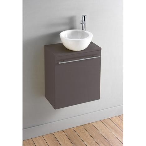 Meuble lave-mains complet couleur taupe avec bol en céramique