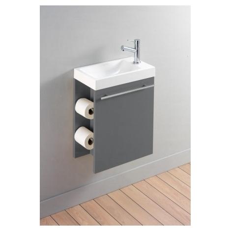 Meuble Lave Mains Complet Pour WC Avec Distributeur De Papier Couleur Gris  Anthracite