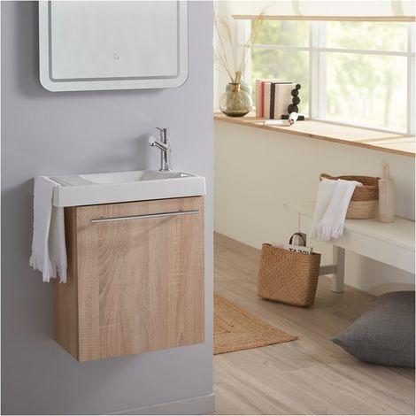 Meuble Lave mains couleur chene Bordolino pour toilette avec robinet eau froide a droite