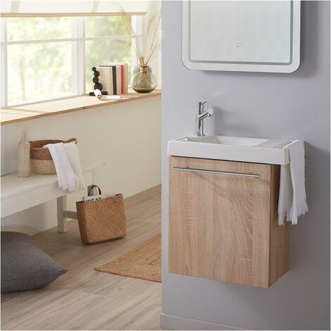 Meuble Lave-mains couleur chene Oak bordolino + Lave-mains + Mitigeur eau chaude-eau froide