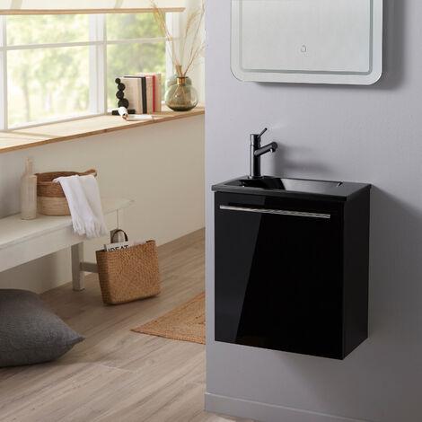 Meuble lave-mains couleur noir avec lave-mains noir en Solid Stone et mitigeur noir