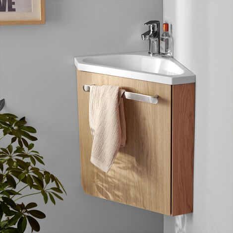 Meuble lave-mains d'angle Chêne SKINO - Bois Clair