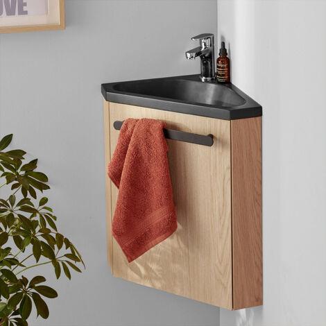Meuble lave-mains d'angle Chêne vasque noire SKINO + robinet chromé - Bois Clair