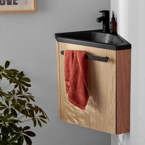 Meuble lave-mains d'angle Chêne vasque noire SKINO + robinet noir - Bois Clair
