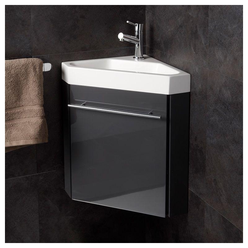 Meuble lave-mains d\'angle couleur anthracite + mitigeur eau chaude/ eau  froide