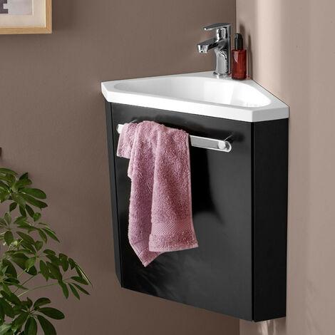 Meuble lave-mains d'angle Noir Carbone SKINO - Noir