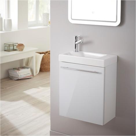 Meuble lave-mains design blanc laque pour WC