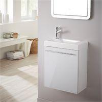 Meuble Lave Mains Design Blanc Laque Pour WC