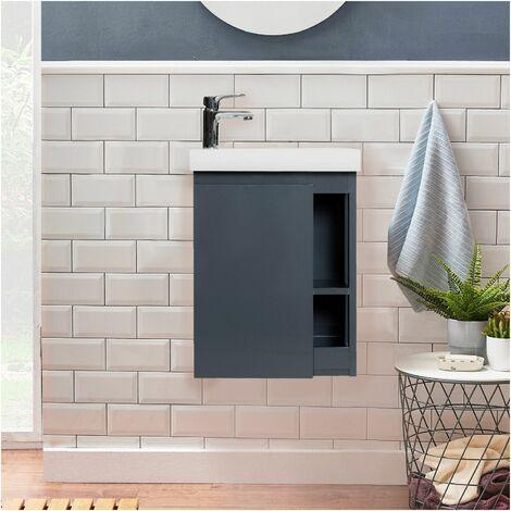 Meuble Lave-mains Gris Avec Vasque Blanche En Résine L41,5 X H53 Hampton - Blanc