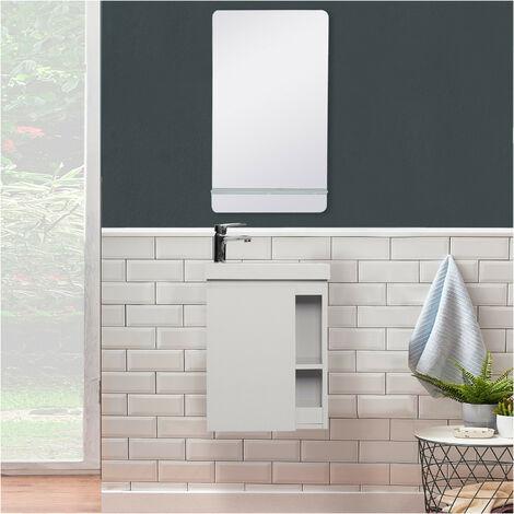 Meuble Lave-mains Gris avec vasque Blanche HAMPTON + Miroir - Gris