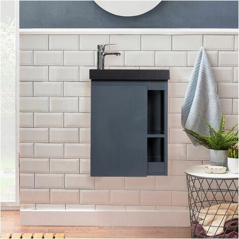 Meuble Lave-mains Gris avec Vasque en Résine de Synthèse Noire L41,5 x H53 HAMPTON