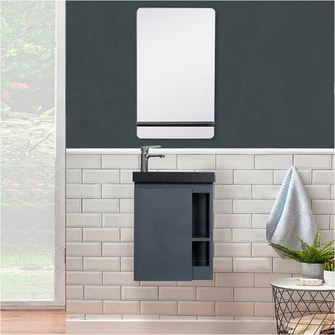 Meuble Lave-mains Gris avec vasque Noire HAMPTON + Miroir - Gris