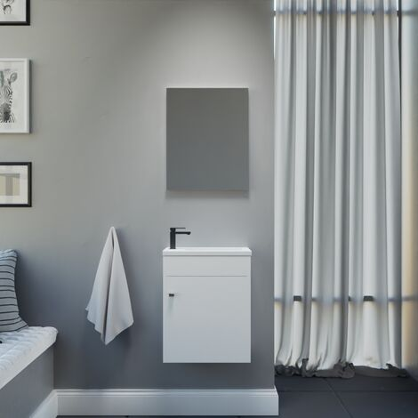 Meuble lave-mains LILA 44x26 cm avec vasque et miroir - Blanc