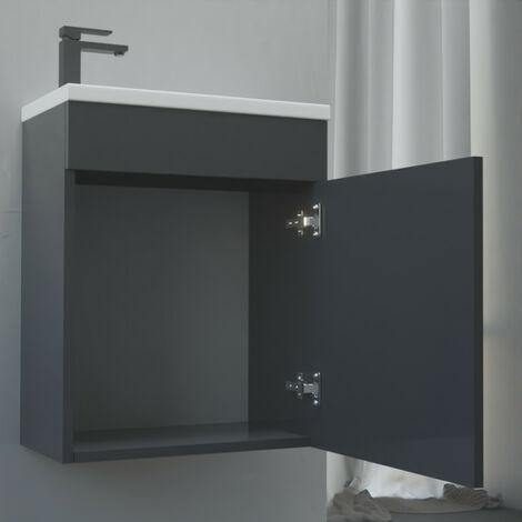 Meuble lave-mains LILA 44x26 cm avec vasque et miroir - gris