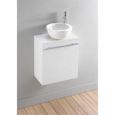 Meuble lave-mains moderne blanc avec bol en céramique