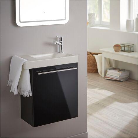 Meuble lave-mains pour toilette noir avec porte serviette et mitigeur à droite