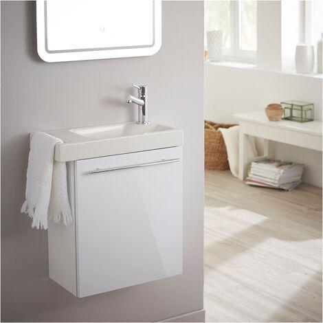 Meuble lave-mains pour wc blanc avec porte serviette et mitigeur à droite