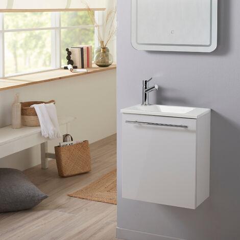 """main image of """"Meuble lave-mains pour wc blanc avec vasque design en solid stone et mitigeur"""""""
