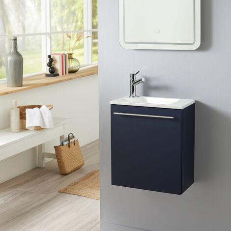 """main image of """"Meuble lave-mains pour WC bleu nuit avec vasque design blanche et mitigeur inclus."""""""