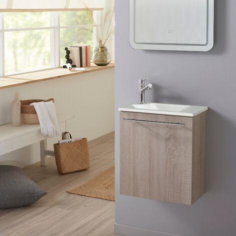 Meuble lave-mains pour wc finition chêne blanchi très tendance avec mitigeur et vasque blanche