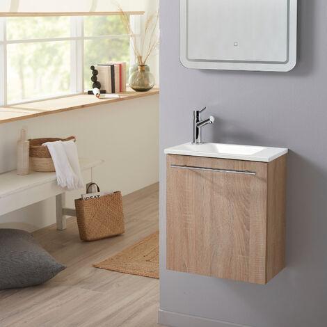 Meuble lave-mains pour wc finition chêne naturel avec vasque élégante et mitigeur inclus