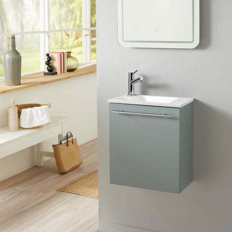 Meuble lave-mains pour WC Vert de gris tendance et design avec mitigeur