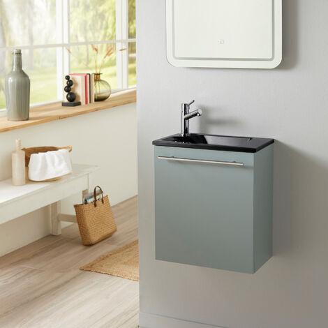 Meuble lave mains Vert de gris avec lave mains noir et robinet eau froide à gauche