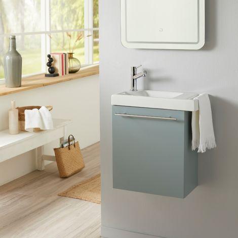 Meuble lave-mains vert de gris avec porte serviette en céramique robinetterie eau froide à gauche
