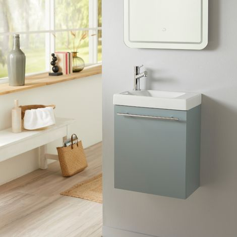 Meuble lave mains vert de gris + Lave mains Hamac + robinet eau froide à gauche