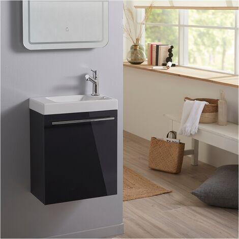 Meuble lave mains wc Gris anthracite + lave mains hamac 3 + mitigeur