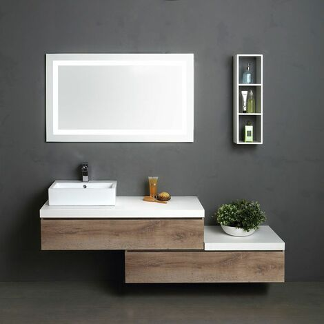 meuble modulable 180 cm avec miroir de salle de bains. Black Bedroom Furniture Sets. Home Design Ideas