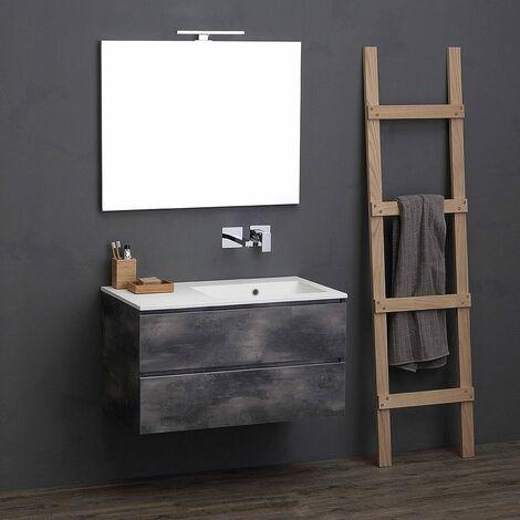 Meuble modulable de salle de bains 90 cm avec lavabo design industriel 02010662000130 - Meuble salle de bain industriel ...