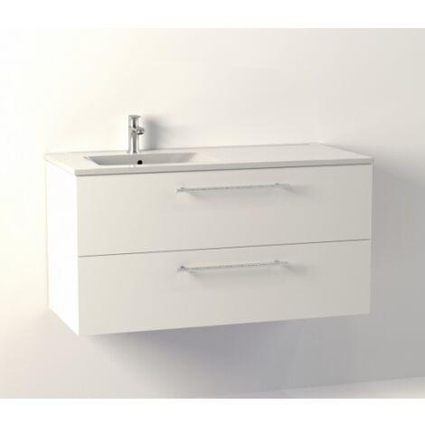 Meuble NEPTUNE Blanc 100 cm Décentré - SANS miroir
