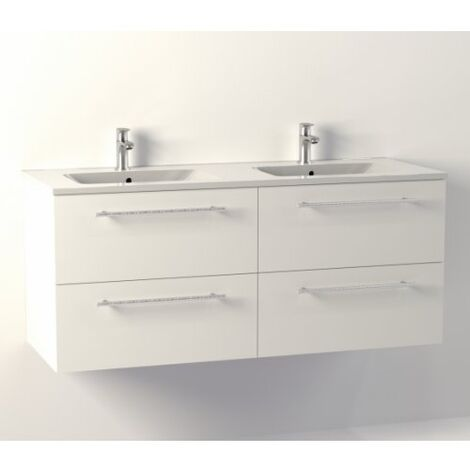 Meuble NEPTUNE Blanc 120cm Double vasque - SANS miroir