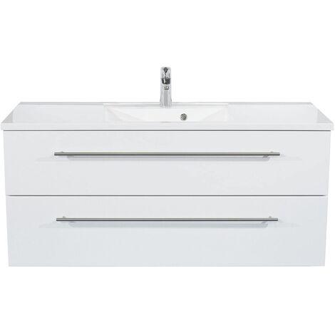 Meuble Omnia 120 cm monté tiroirs avec des bords chanfreinés Blanc brillant
