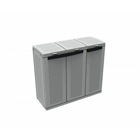 Meuble poubelle 102 x 39 x h89 cm 3 portes déchets tri sélectif terry