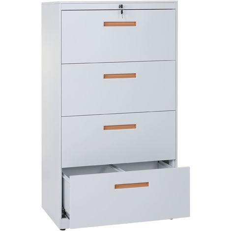 Meuble pour dossiers suspendus Boston A10, acier, 132x76x46 cm, blanc