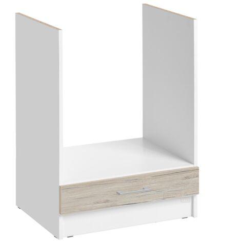 """main image of """"Meuble pour four encastrable - L 60 cm - décor noyer blanchi - Noyer blanchi."""""""