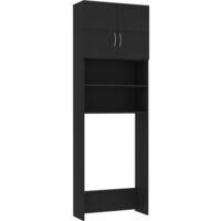 Meuble pour machine à laver Noir 64 x 25,5 x 190 cm Aggloméré