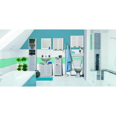Meuble pour Salle de Bain Blanc, Disponible en 5 déclinaisons Meuble Toilette ou Salle de Bain - Meuble Dessus de WC - Miami Blanc.