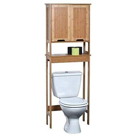 Meuble pour Toilettes Mahe Bambou avec Deux Portes en MDF et Une étagère intérieure 57 x 21,5 x 173 cm