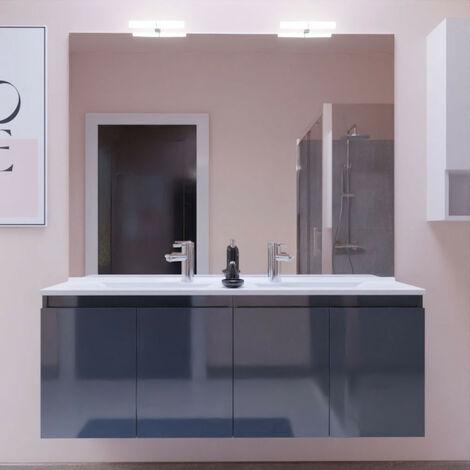 Meuble PROLINE 140 cm avec plan vasque et miroir - Gris brillant