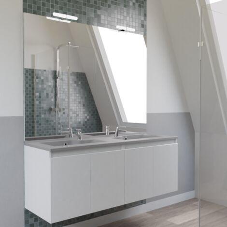 Meuble PROLINE 140 cm avec plan vasque gris et miroir - blanc brillant