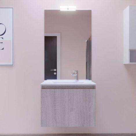 Meuble PROLINE 70 cm avec plan vasque et miroir - Cambrian oak