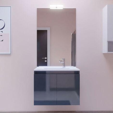 Meuble PROLINE 70 cm avec plan vasque et miroir - Gris anthracite